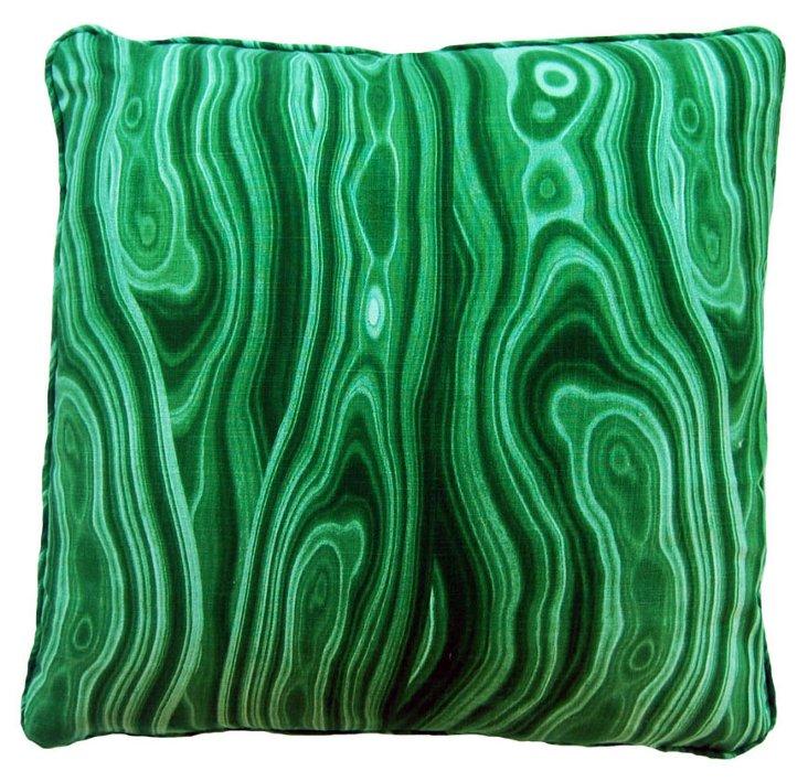 Malachite 22x22 Cotton Pillow, Green