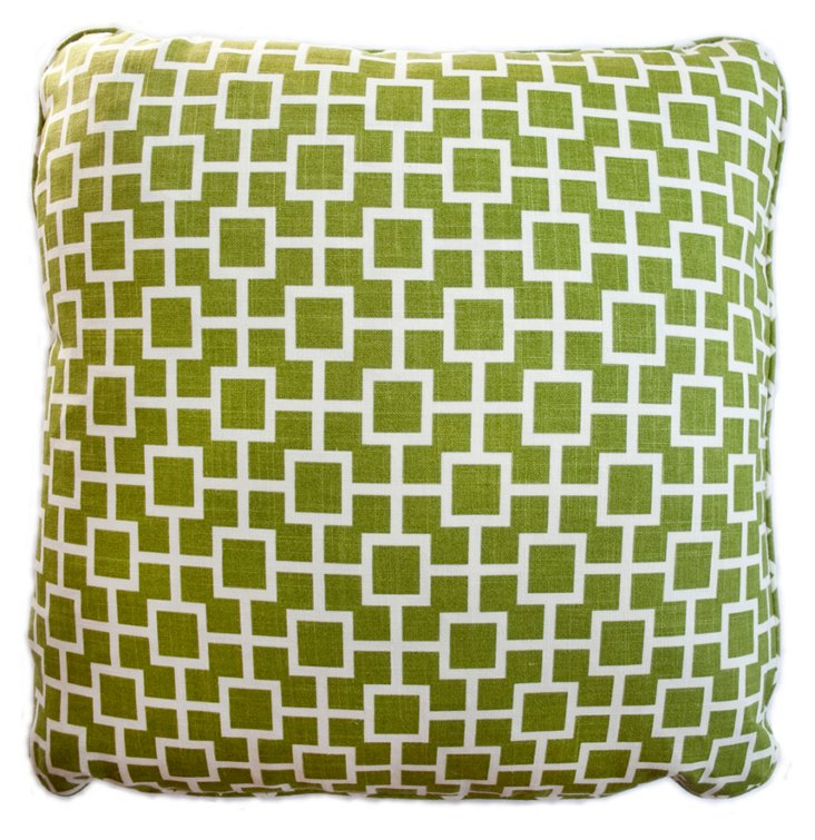 Square 20x20 Cotton Pillow, Green
