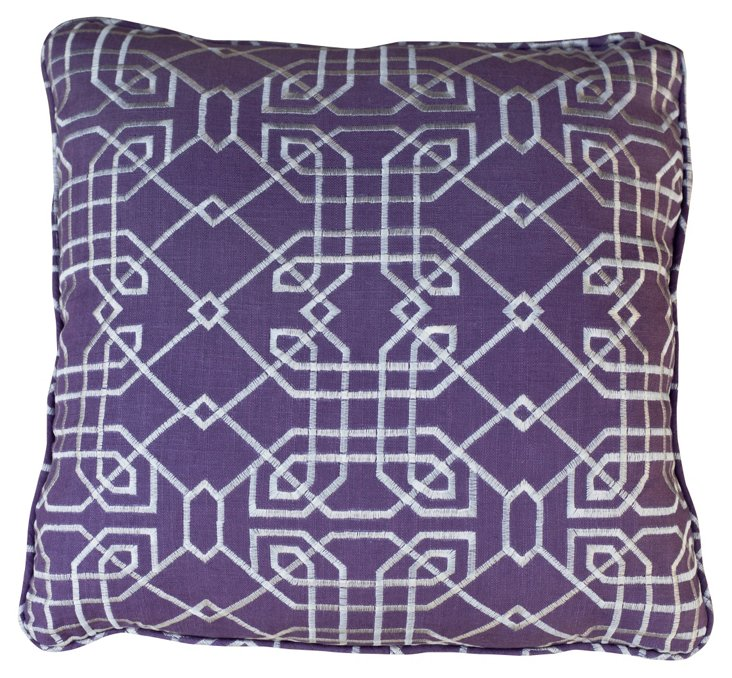 Geo 22x22 Embroidered Pillow, Purple