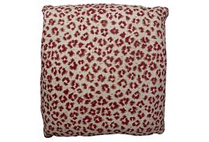 Leopard 22x22 Linen Pillow, Red*