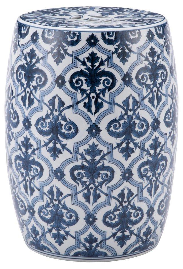 Adare Garden Stool, Blue/White