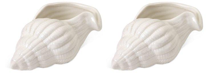"""4"""" White Seashells, Set of 2"""