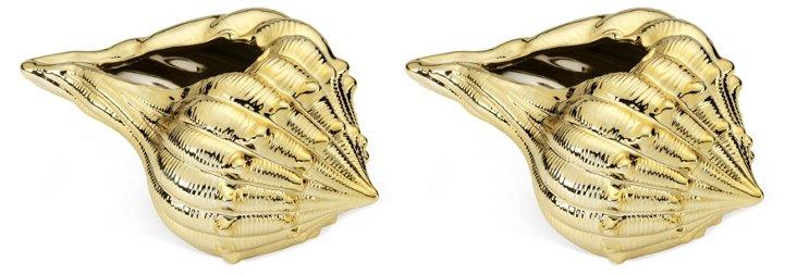 "S/2 6"" Seashells, Gold"
