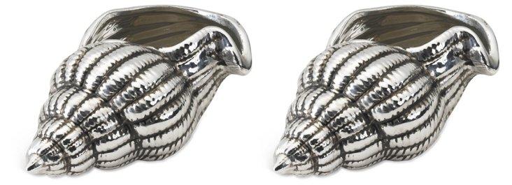 S/2 Ceramic Seashells, Silver