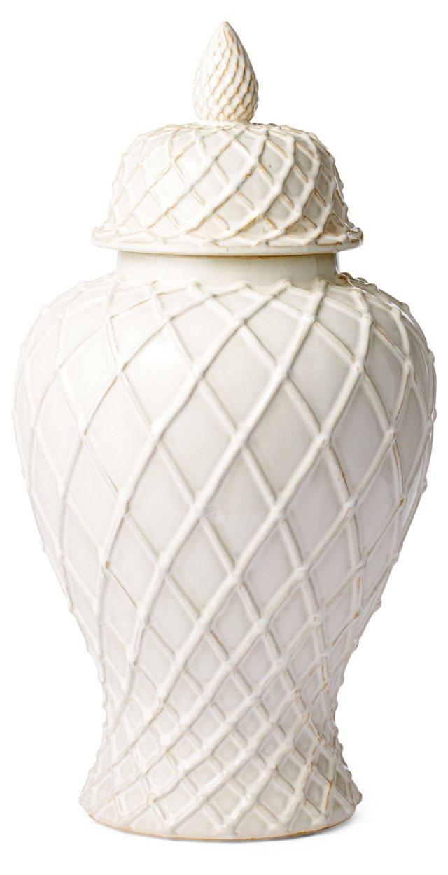 """20"""" Ceramic Ginger Jar, White"""
