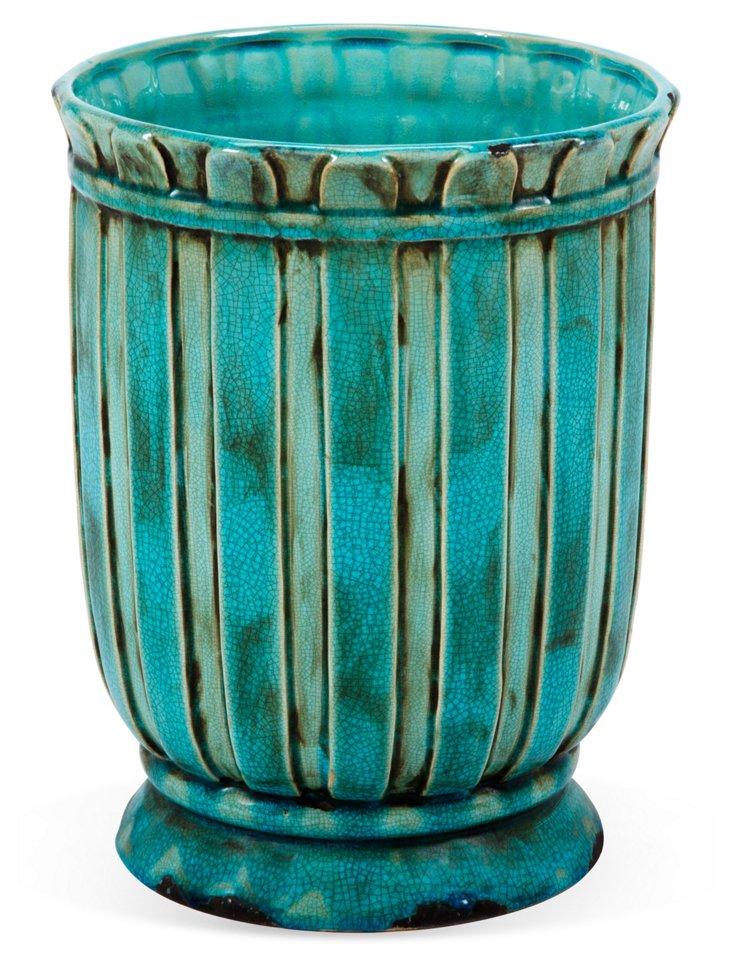 """13"""" Ceramic Planter, Aqua"""