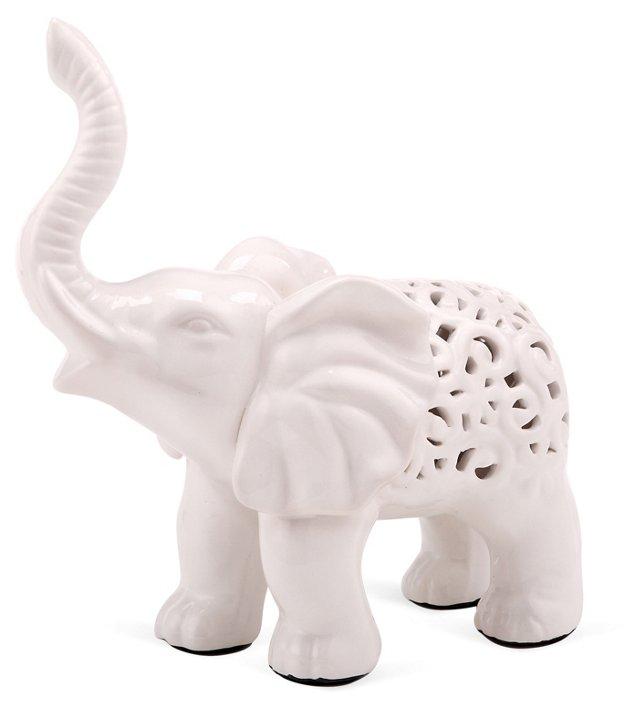 Lucky Elephant Objet, White