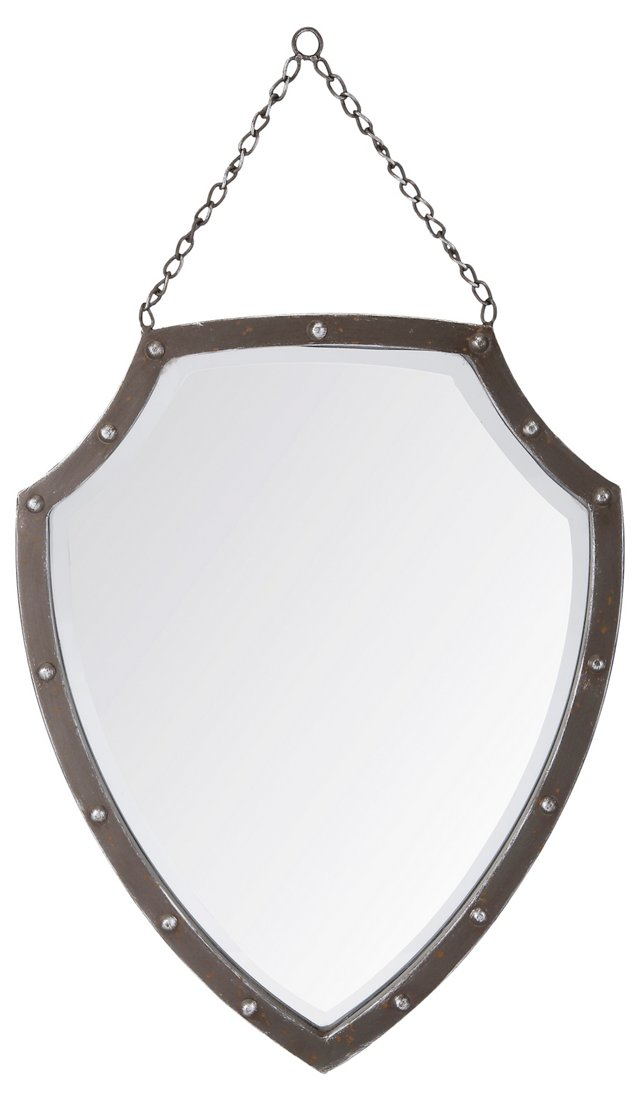 Medieval Shield Wall Mirror, Silver