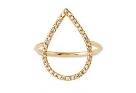 Diamond Dew Drop Ring, 14K Yellow Gold