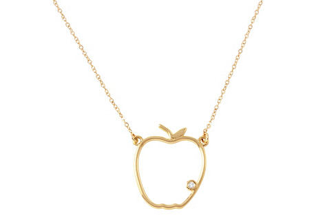 14K Gold & Diamond Apple Necklace