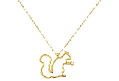 14K Gold & Diamond Squirrel Necklace