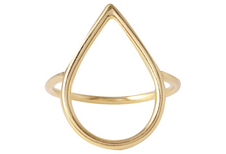 Dew Drop Ring - 14K Gold Plate