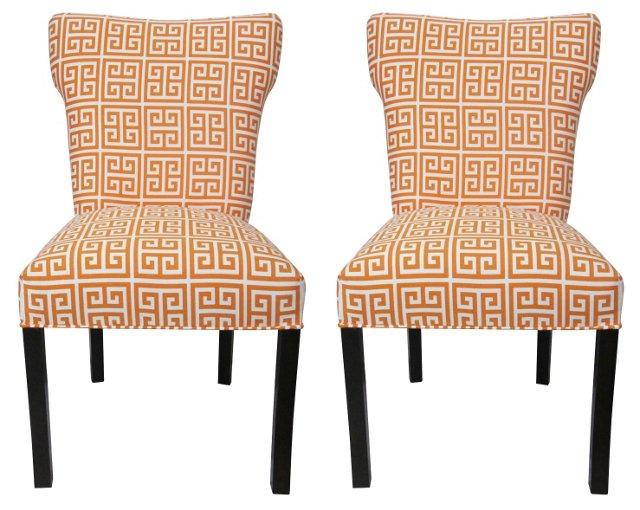 Orange Chloe Chairs, Pair