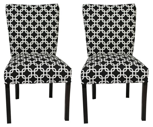 Black Bea Side Chairs, Pair