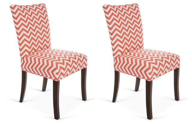 Coral Julia Side Chairs, Pair