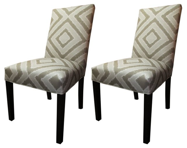 Taupe Kayla Side Chairs, Pair