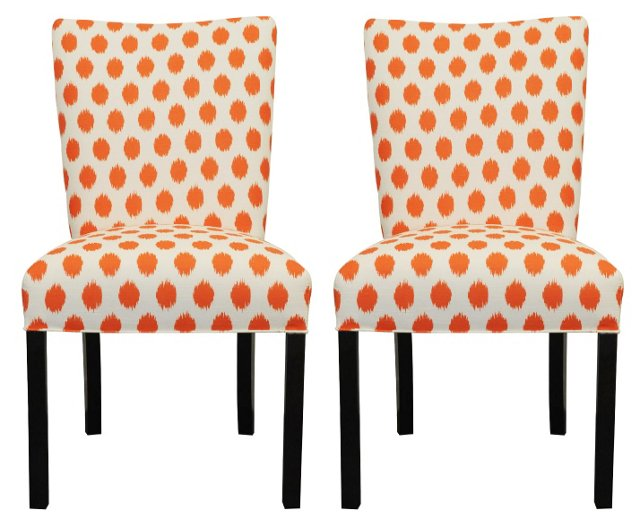 Orange Lauren Side Chairs, Pair