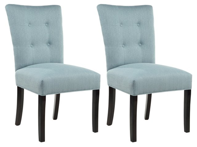 Bay Blue Rebecca Side Chairs, Pair