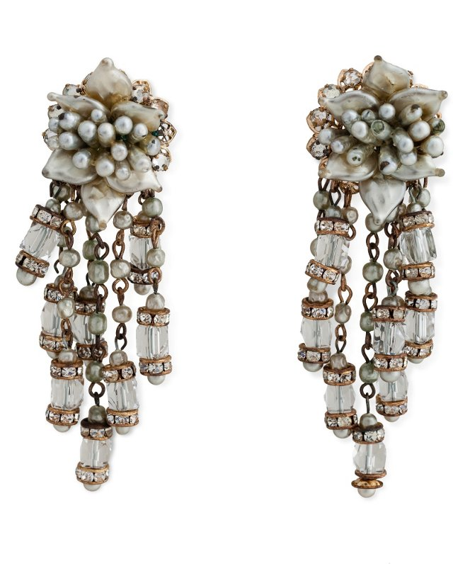 Faux Pearl Crystal Drop Earrings