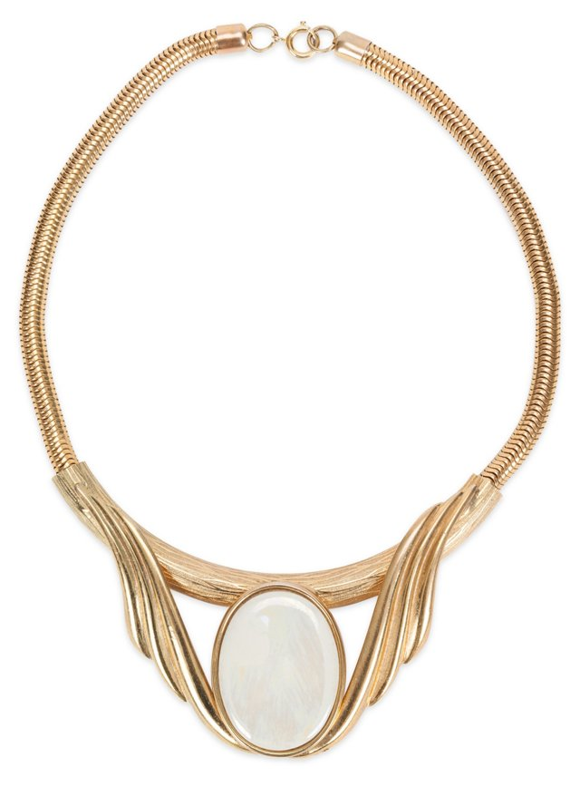 Scroll Mother-of-Pearl Stone Necklace