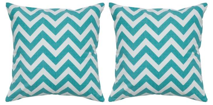 S/2 Chevron 18x18 Cotton Pillows, Teal