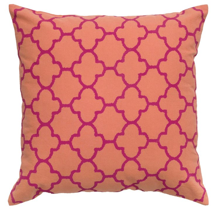 Trellis 18x18 Cotton Pillow, Coral