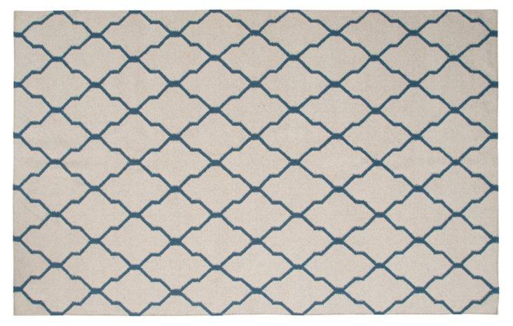 Cleo Flat-Weave Rug, Beige/Blue