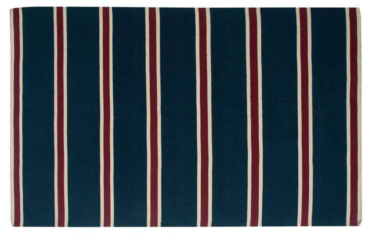 Tia Flat-Weave Rug, Blue/Red