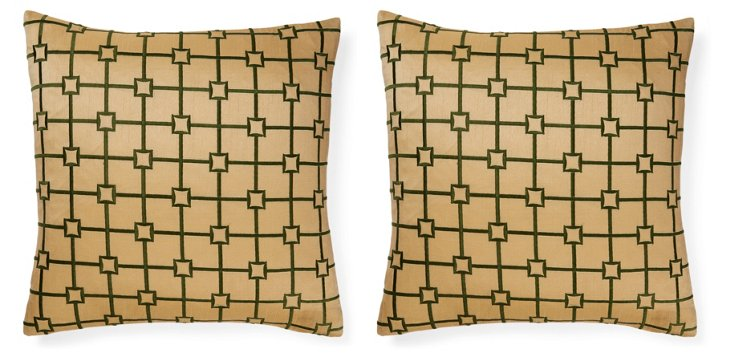 Set of 2 Squared 18x18 Pillows, Green