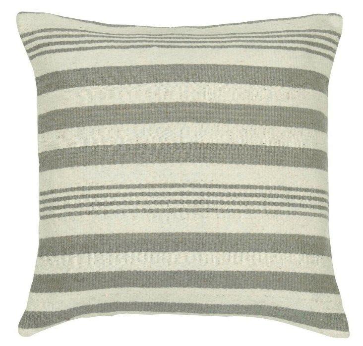 Stripe 24x24 Wool Pillow, Gray