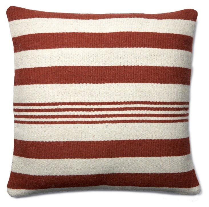 Striped 24x24 Wool Pillow, Rust