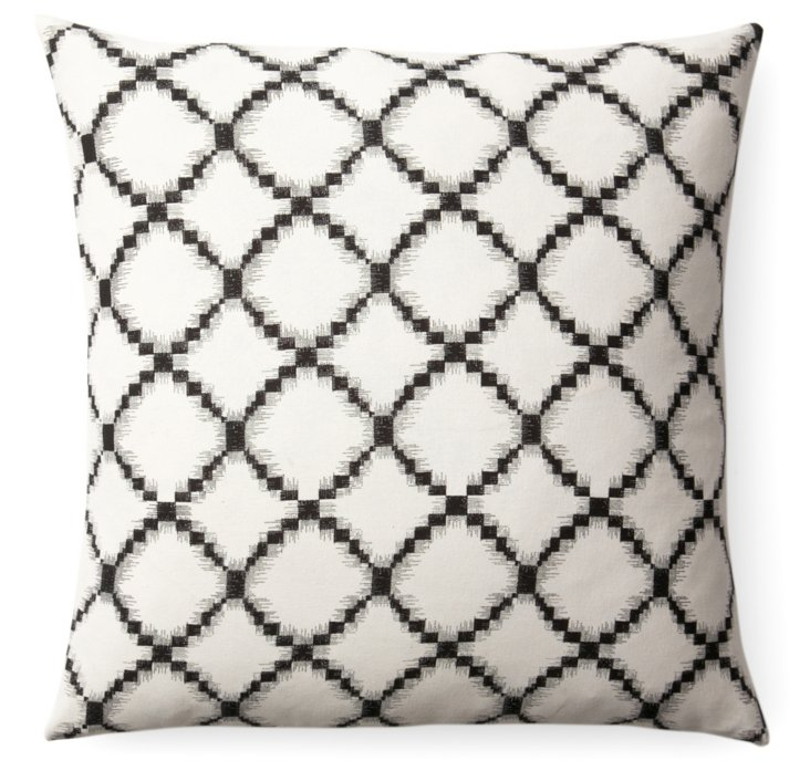 Lattice 18x18 Cotton Pillow, Black/Cream