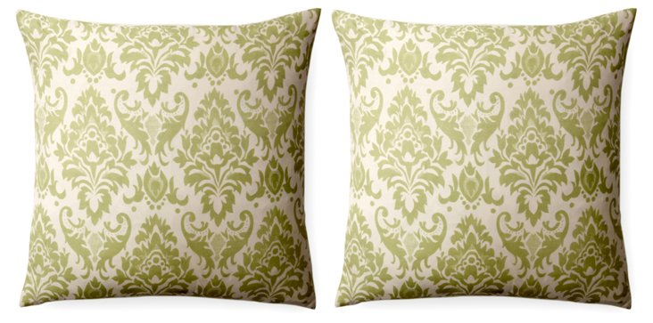 Set of 2 Damask 18x18 Pillows, Sage