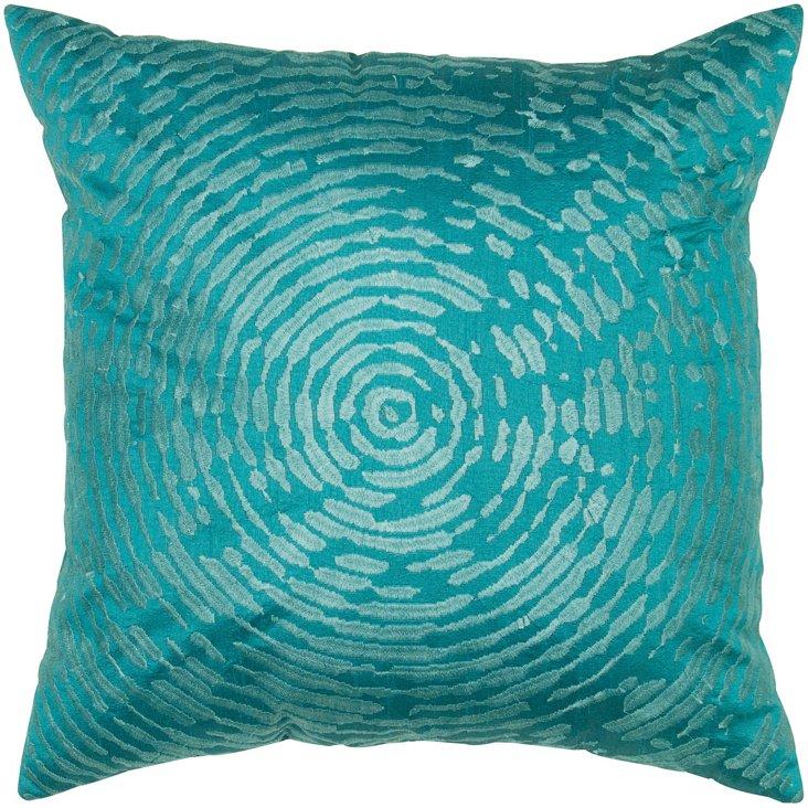 Fingerprint 18x18 Pillow, Turquoise