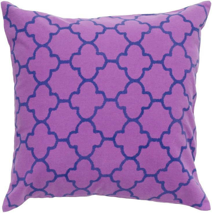 Trellis 18x18 Cotton Pillow, Purple