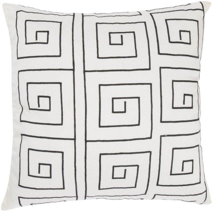 Mod 18x18 Pillow, White/Black
