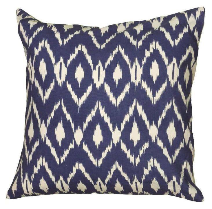 Ikat 18x18 Cotton Pillow, Navy