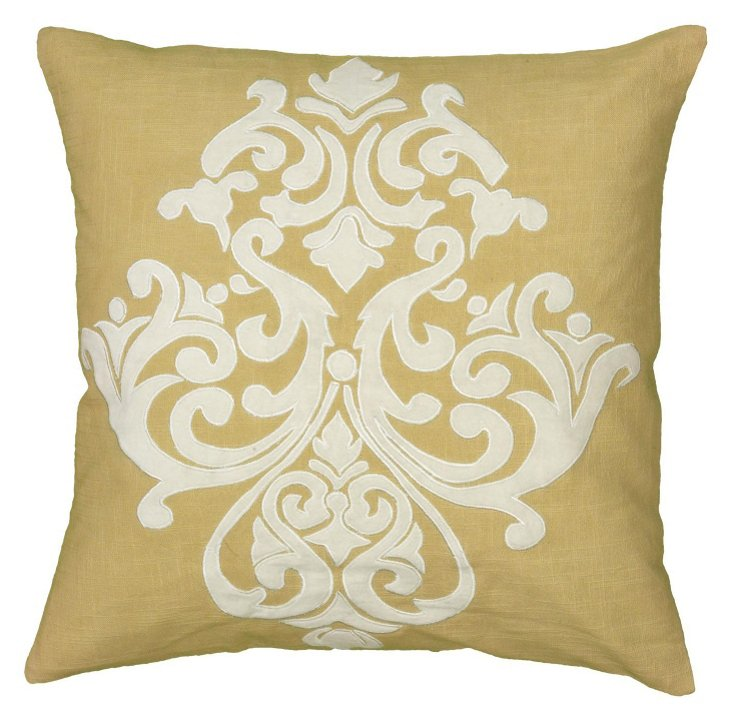 Damask 20x20 Embroidered Pillow, Yellow