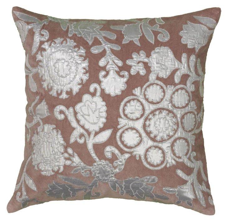 Cecilia 18x18 Cotton-Blend Pillow, Plum