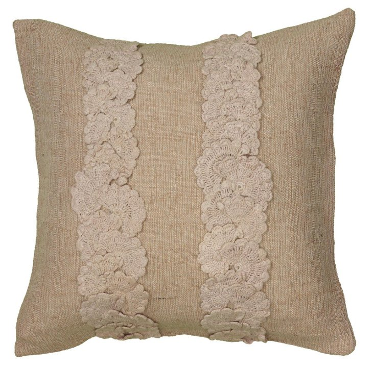 Doily Striped 18x18 Pillow, Natural