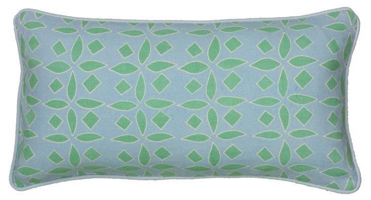 Geo 11x21 Cotton Pillow, Blue/Green
