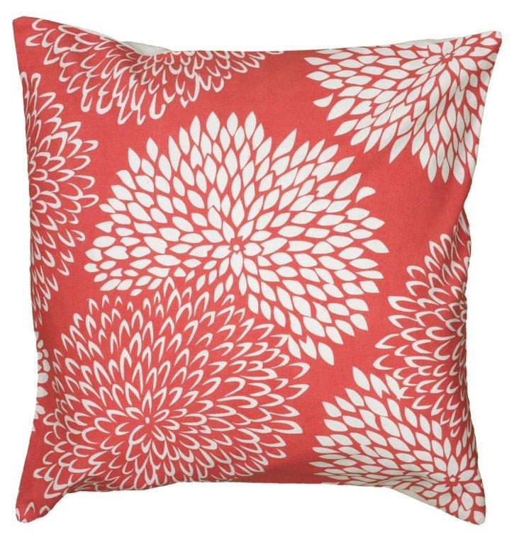 Susie 18x18 Cotton Pillow, Coral