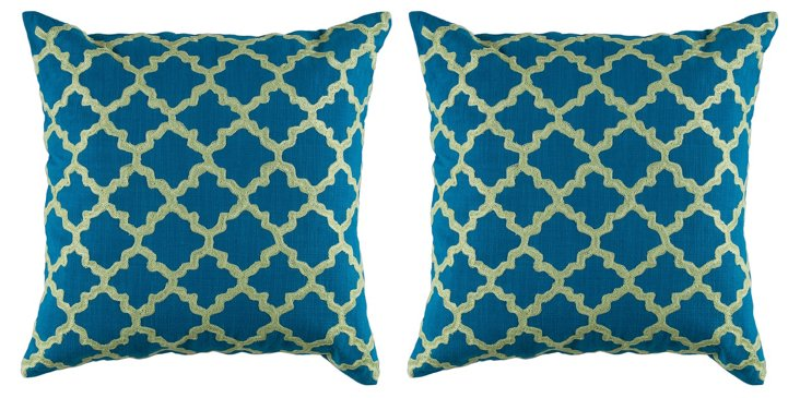 S/2 Clover 20x20 Cotton Pillows, Teal