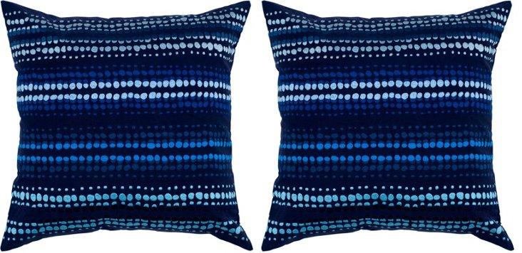 S/2 Swin 20x20 Cotton Pillows, Blue