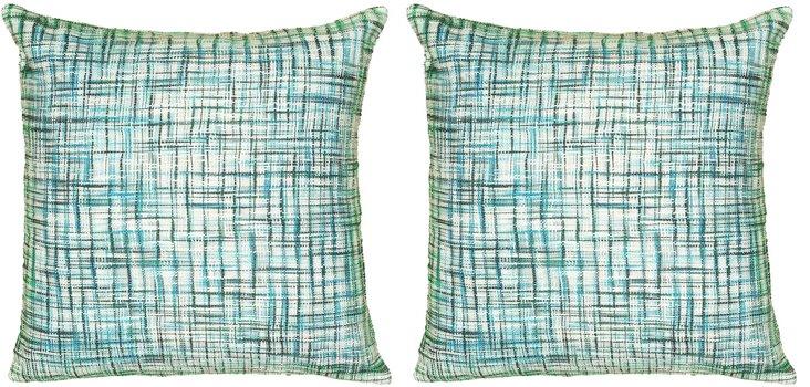 S/2 Brooke 22x22 Cotton Pillows, Blue