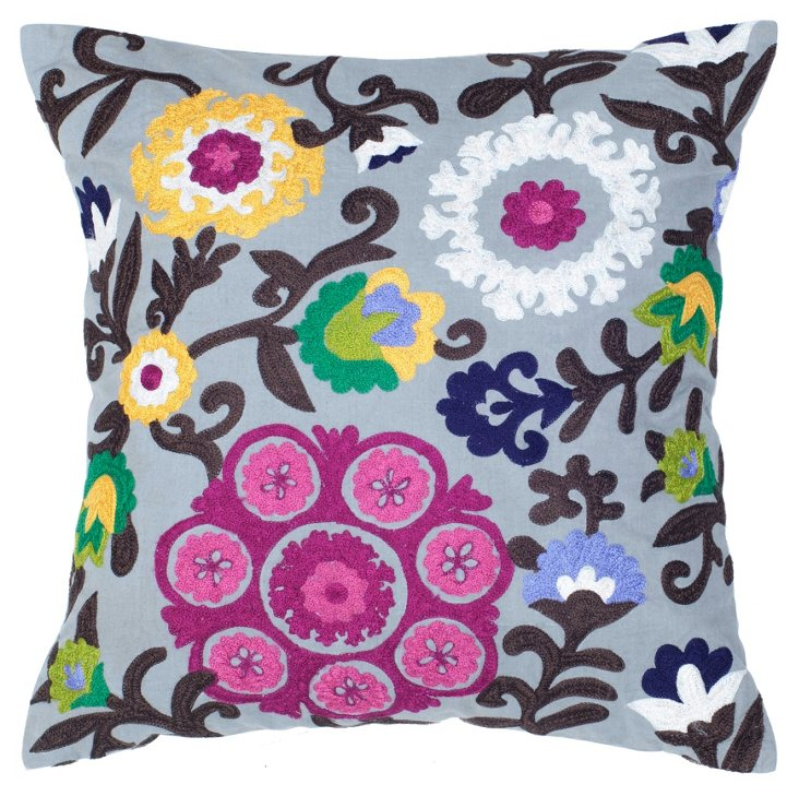 Suzani 18x18 Embroidered Pillow, Multi