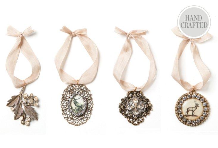 S/4 Jeweled Reindeer Ornaments