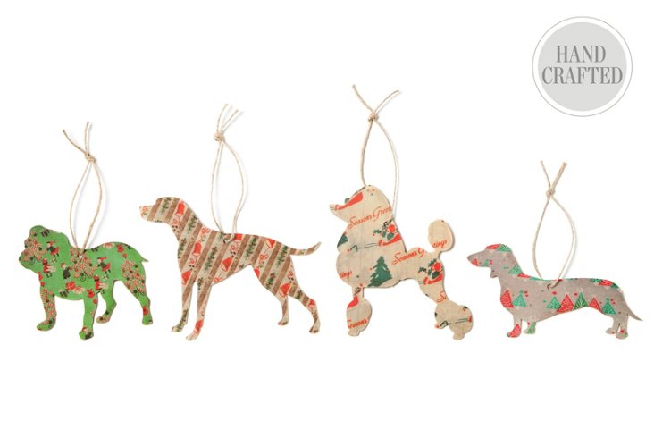 S/4 Silhouette Dog Ornaments