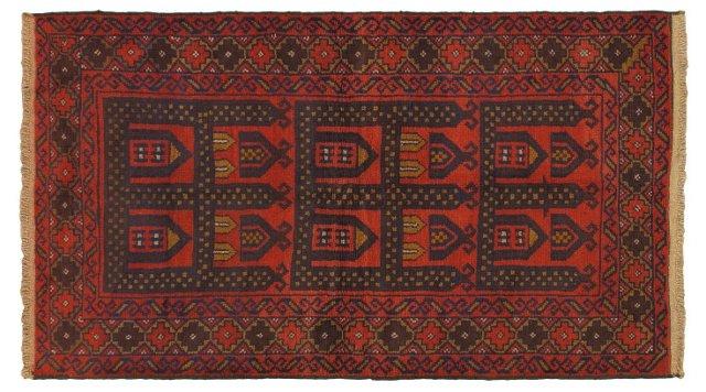 "3'9""x6'7"" Royal Baluch Rug, Red"
