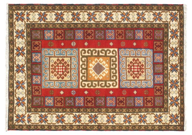 """4'6""""x6'5"""" Royal Kazak Rug, Cream/Red"""